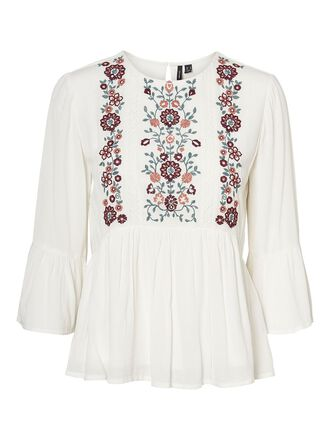 EMBROIDERED 3/4 SLEEVED BLOUSE