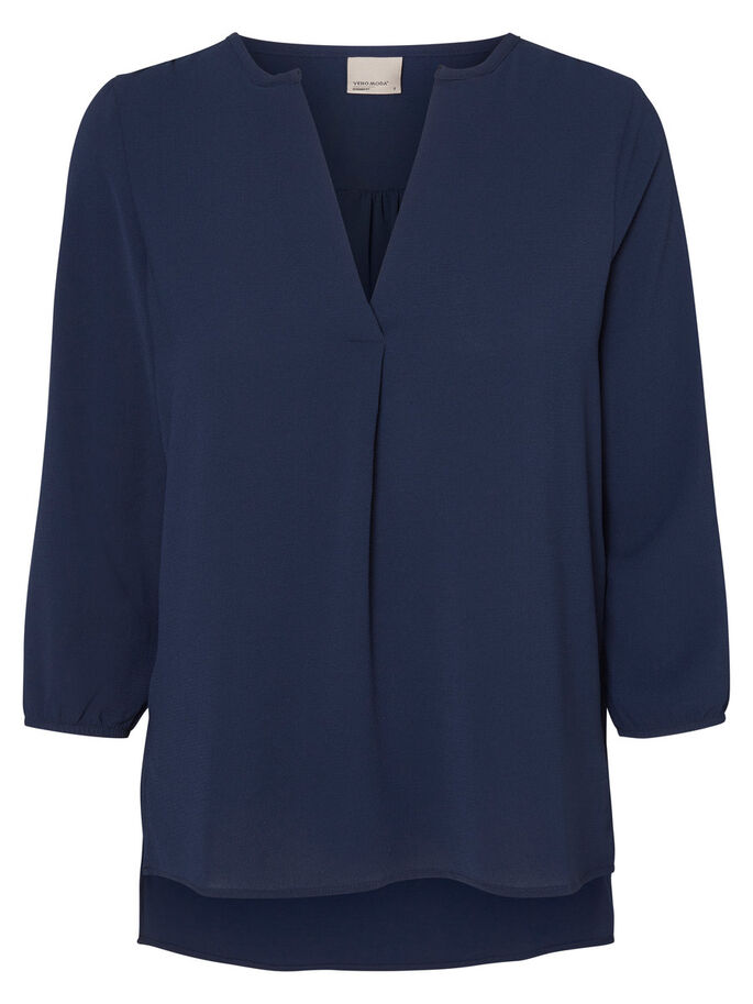 LOOSE FIT BLOUSE MANCHES 3/4, Navy Blazer, large
