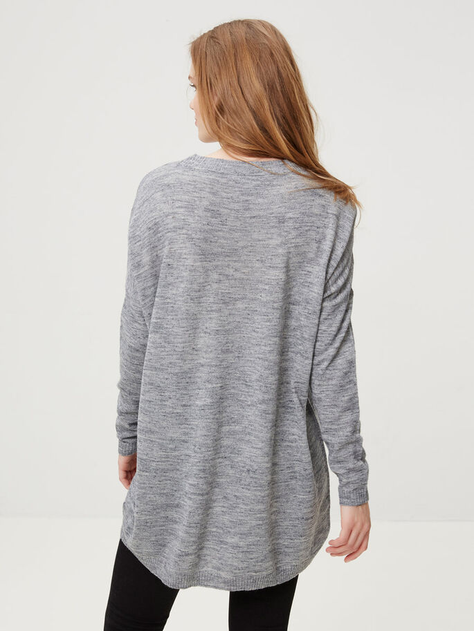 LOOSE FIT GEBREIDE TOP, Light Grey Melange, large