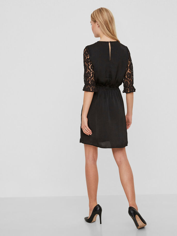LACE DRESS, Black, large