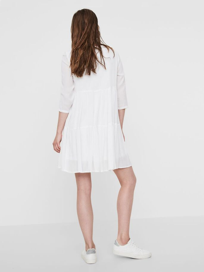 3/4 SLEEVED DRESS, Bright White, large