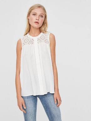 LACE SLEEVELESS SHIRT