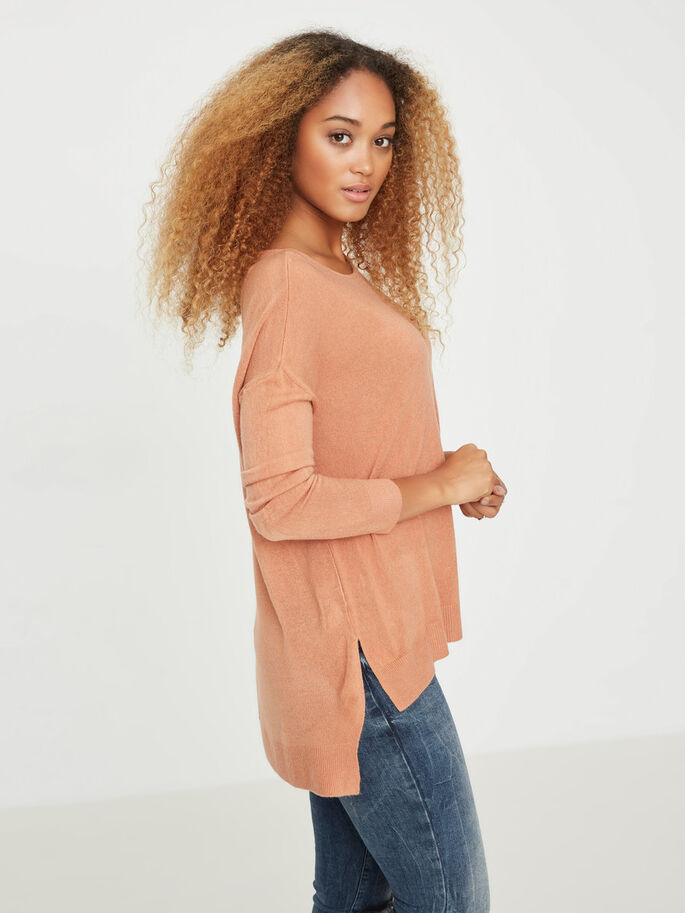 CASUAL KNITTED PULLOVER, Cedar Wood, large