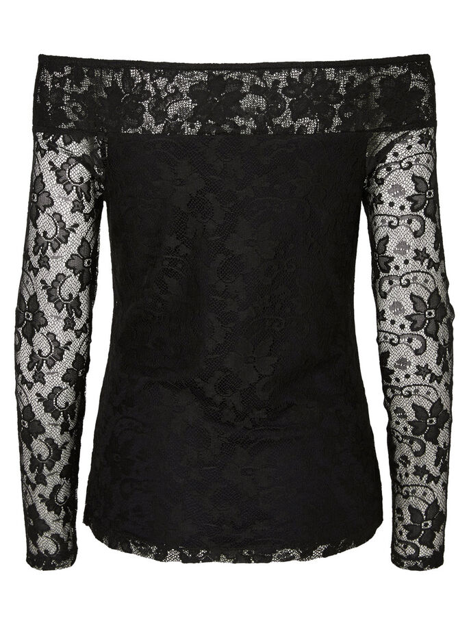 OFF SHOULDER LONG SLEEVED BLOUSE, Black, large