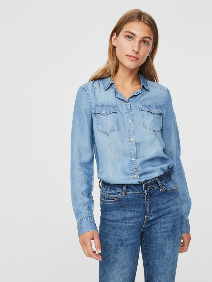 JEAN CHEMISE, Light Blue Denim, large