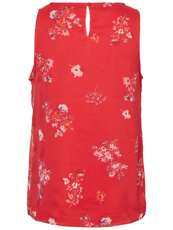 FLOWER SLEEVELESS TOP, Lychee, large