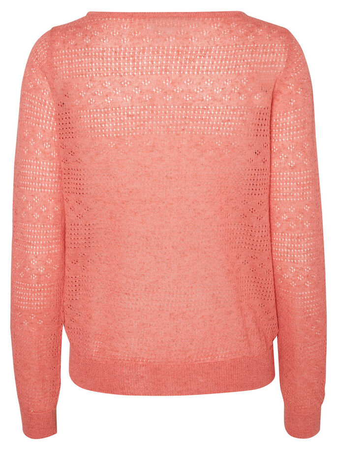 LONG SLEEVED KNITTED PULLOVER, Georgia Peach, large