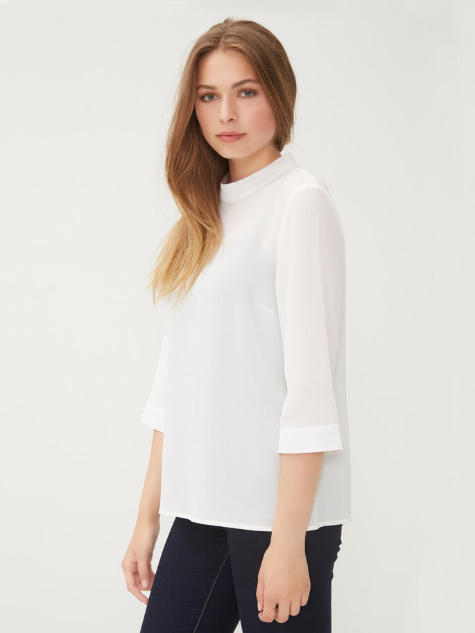 FEMININE 3/4 SLEEVED TOP, Snow White, large