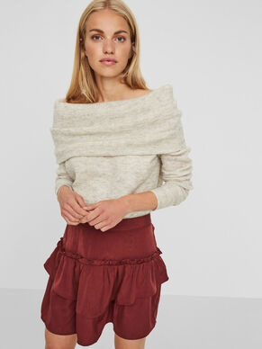 OFF-SHOULDER KNITTED PULLOVER