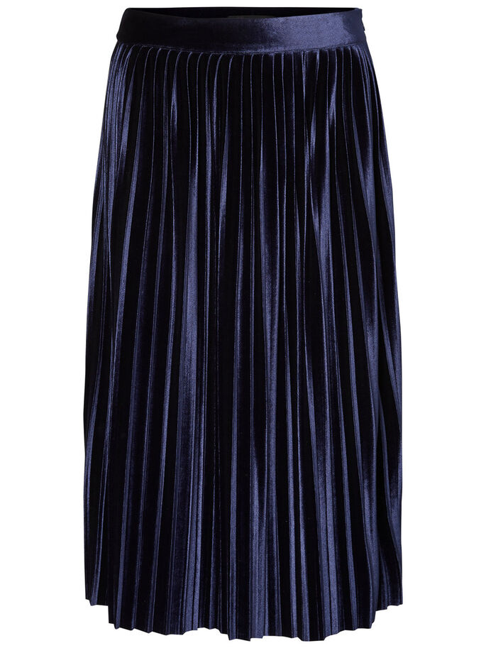 HW PLEATED VELVET SKIRT, Navy Blazer, large