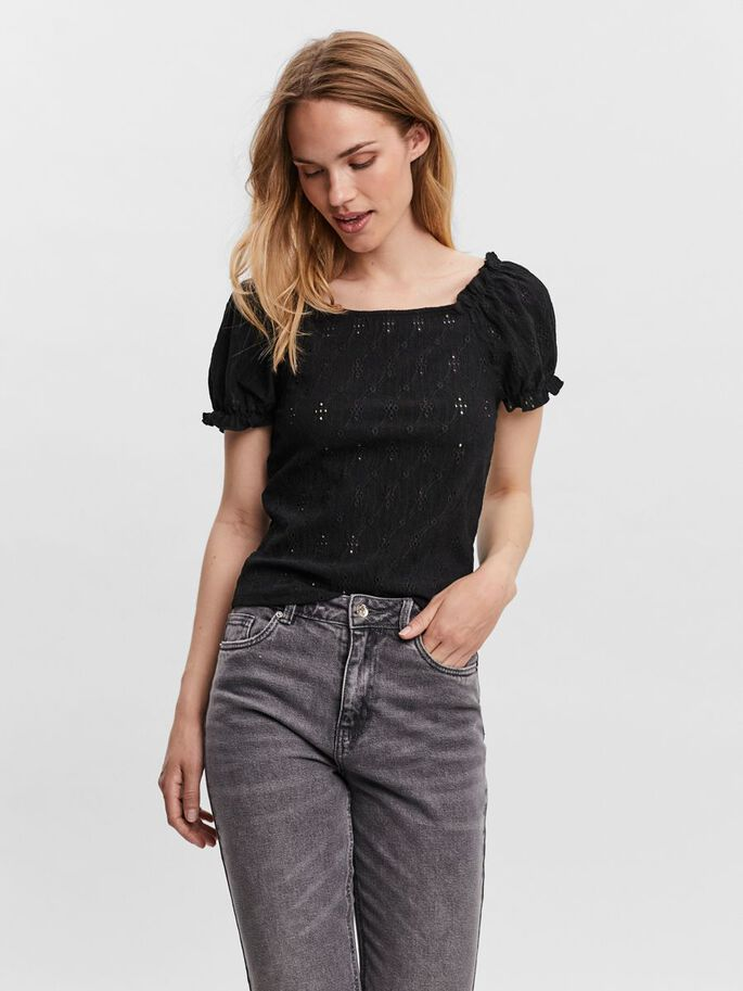PUFF SHORT SLEEVED TOP, Black, large