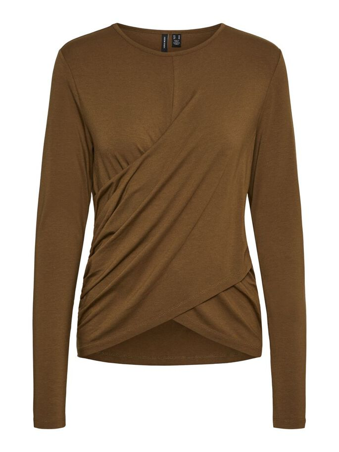 WRAP DETAIL LONG SLEEVED TOP, Beech, large