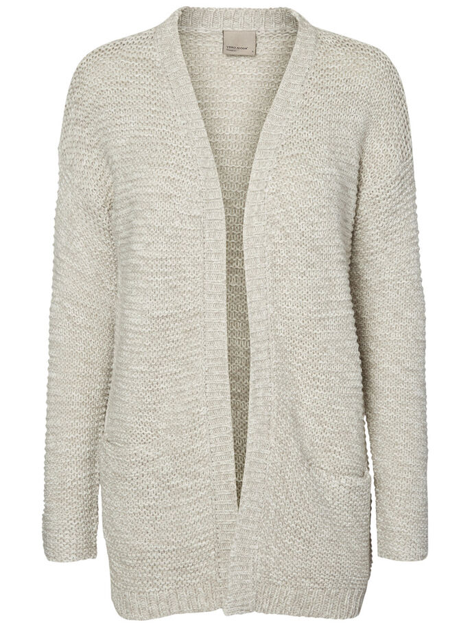 LANGE STRICKJACKE, Light Grey Melange, large