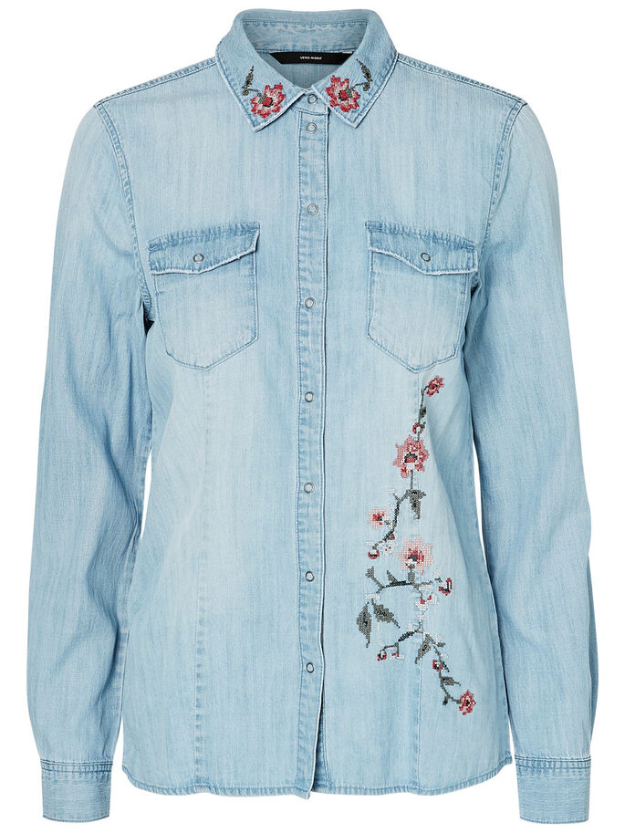 DENIM SHIRT, Light Blue Denim, large