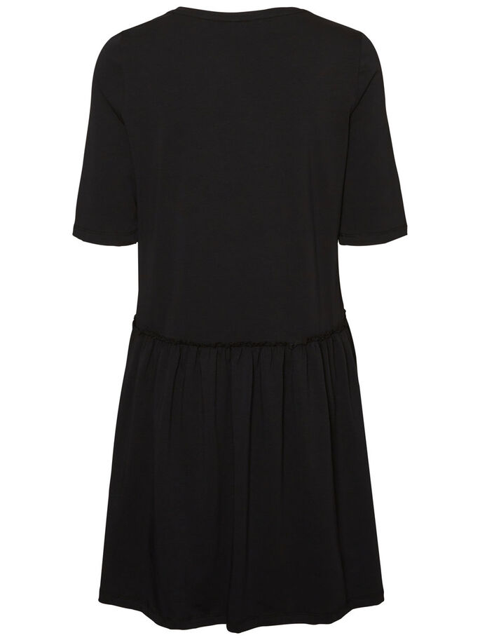 CASUAL LONG SLEEVED DRESS, Black, large
