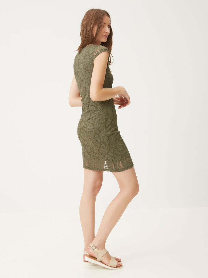 LACE SHORT DRESS, Ivy Green, large