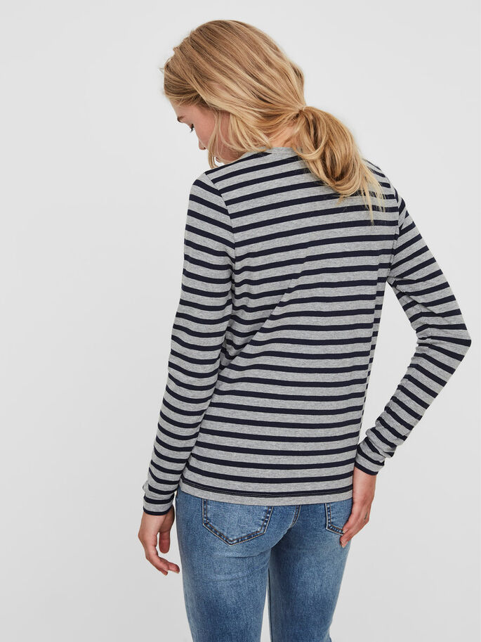 STRIPED LONG SLEEVED TOP, Navy Blazer, large