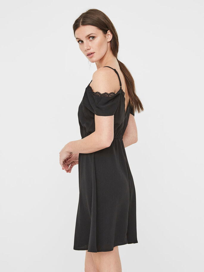 OFF-SHOULDER SLEEVELESS DRESS, Black, large
