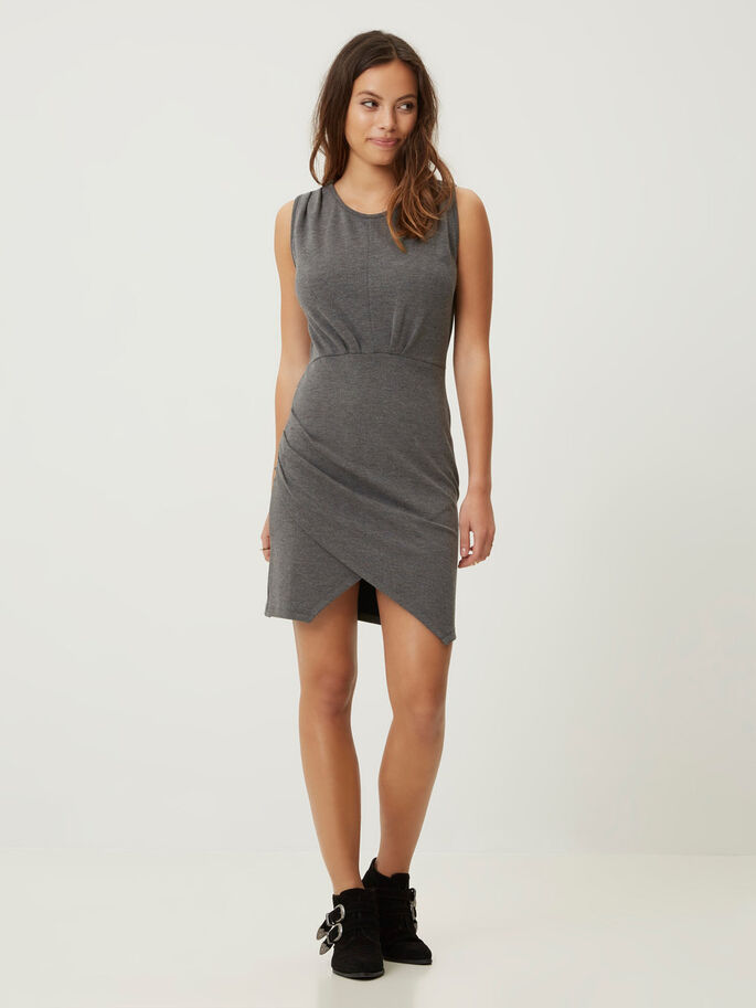 SLEEVELESS SHORT DRESS, Dark Grey Melange, large