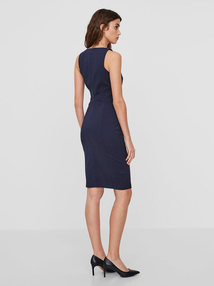 BODYCON SLEEVELESS DRESS, Navy Blazer, large