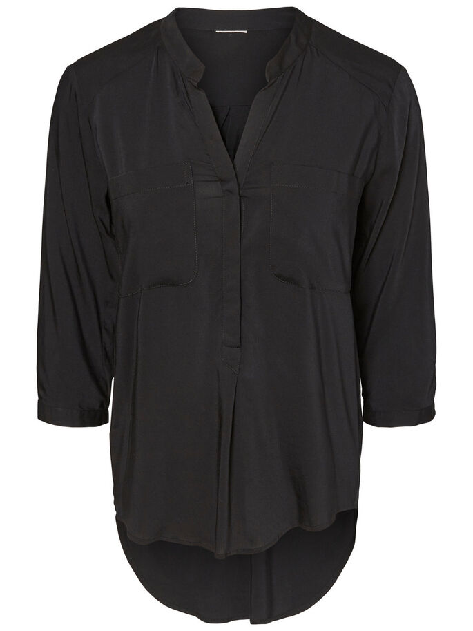 3/4 SLEEVED SHIRT, Black, large