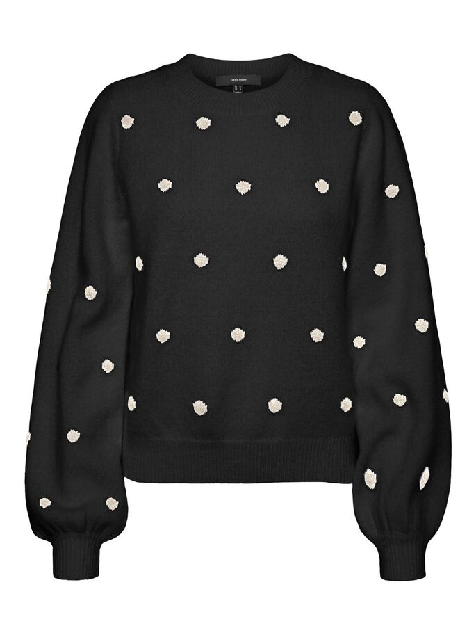 O-NECK DOTTED KNITTED PULLOVER, Black, large
