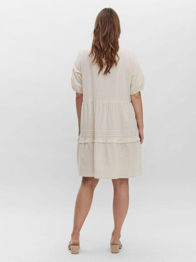 2/4 SLEEVED MINI DRESS, Birch, large