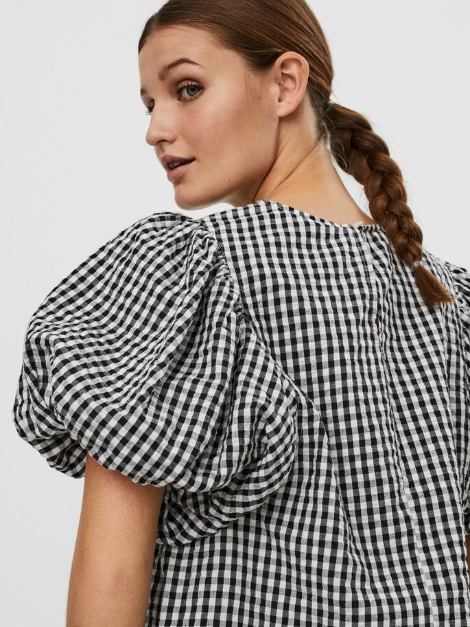 CHECKERED SHORT SLEEVED TOP, Snow White, large