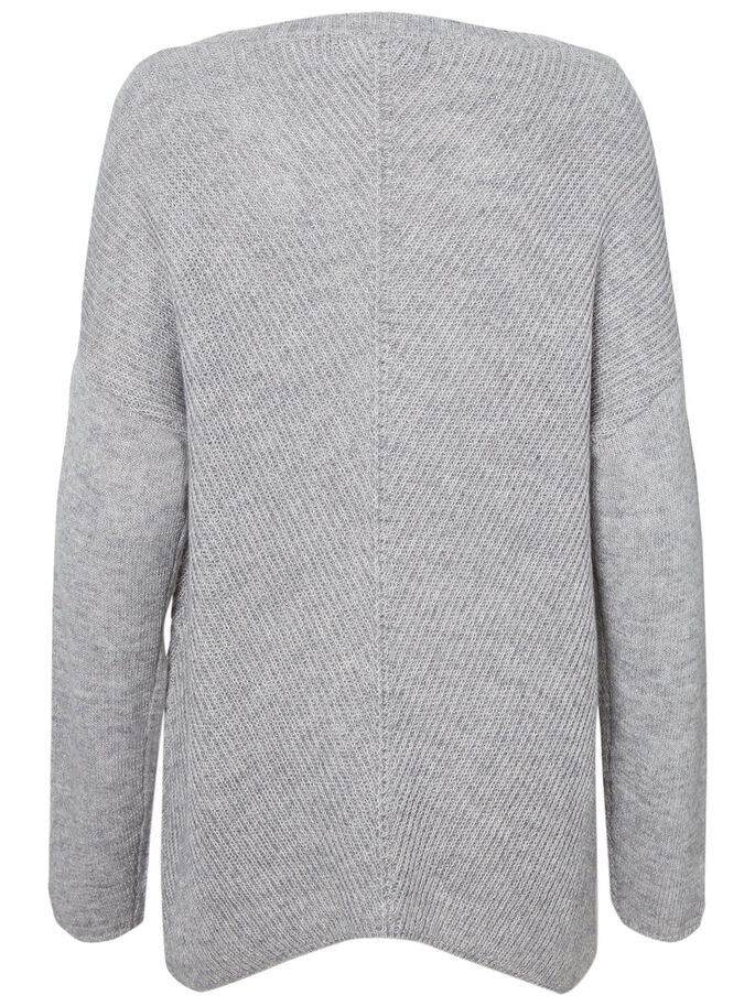 SPITZEN STRICKPULLOVER, Light Grey Melange, large