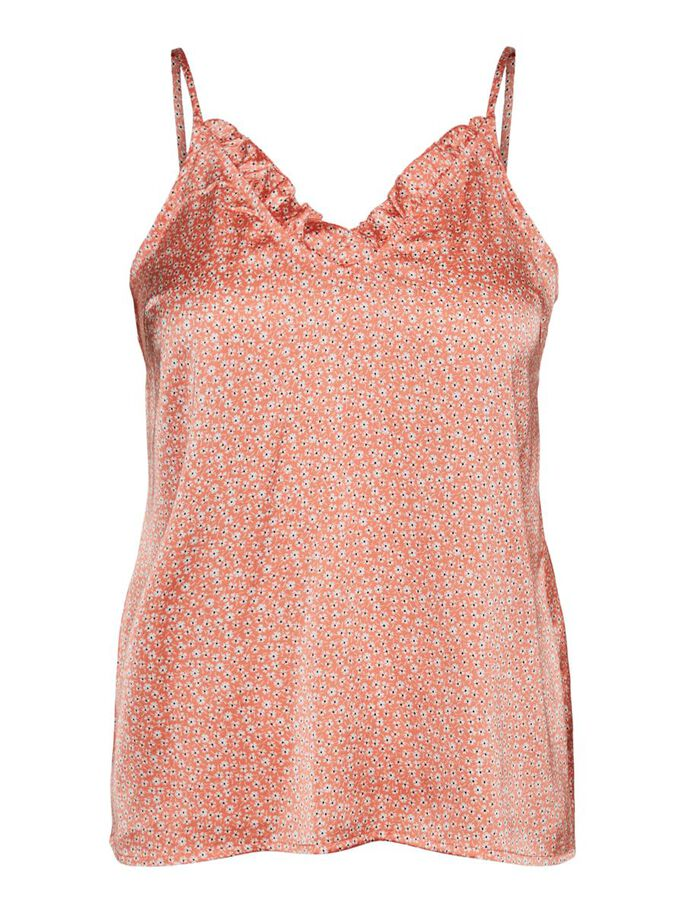 V-NECK SLEEVELESS TOP, Coral, large