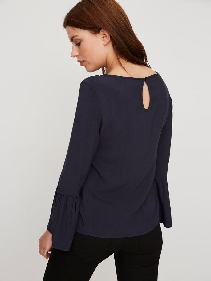 DETAILED LONG SLEEVED BLOUSE, Navy Blazer, large