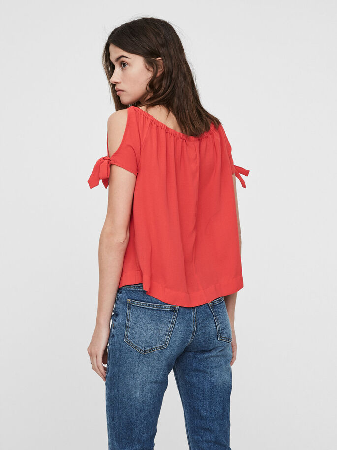 OFF-SHOULDER SHORT SLEEVED TOP, Hibiscus, large