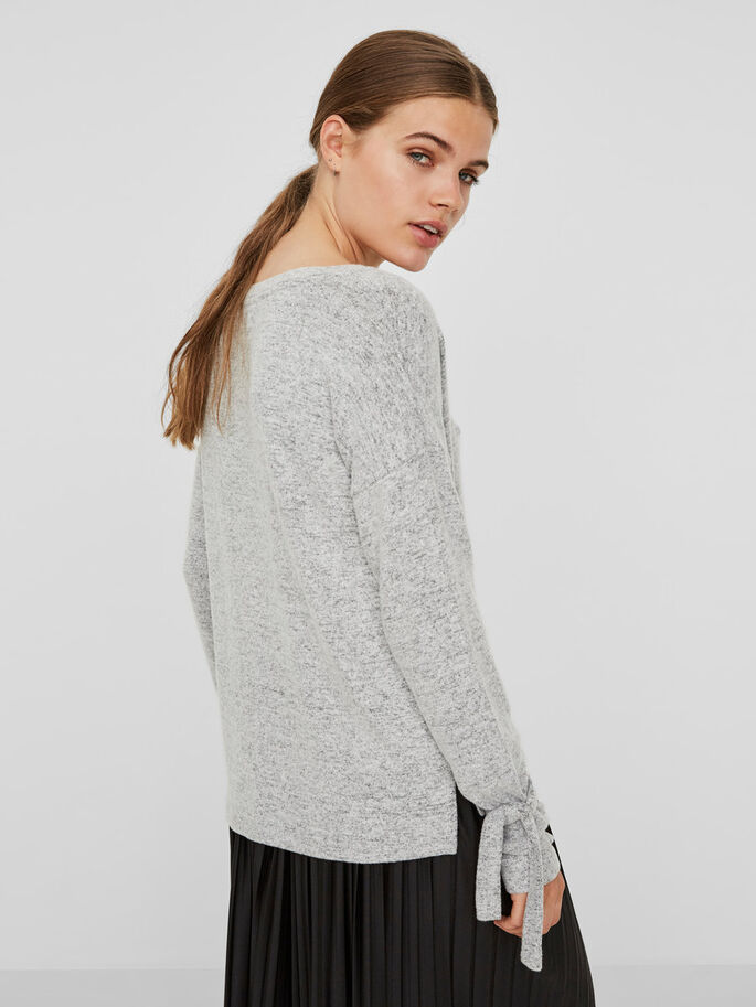 LACE SWEATSHIRT, Light Grey Melange, large