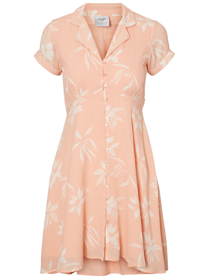 FEMININE SHORT SLEEVED DRESS, Dusty Pink, large