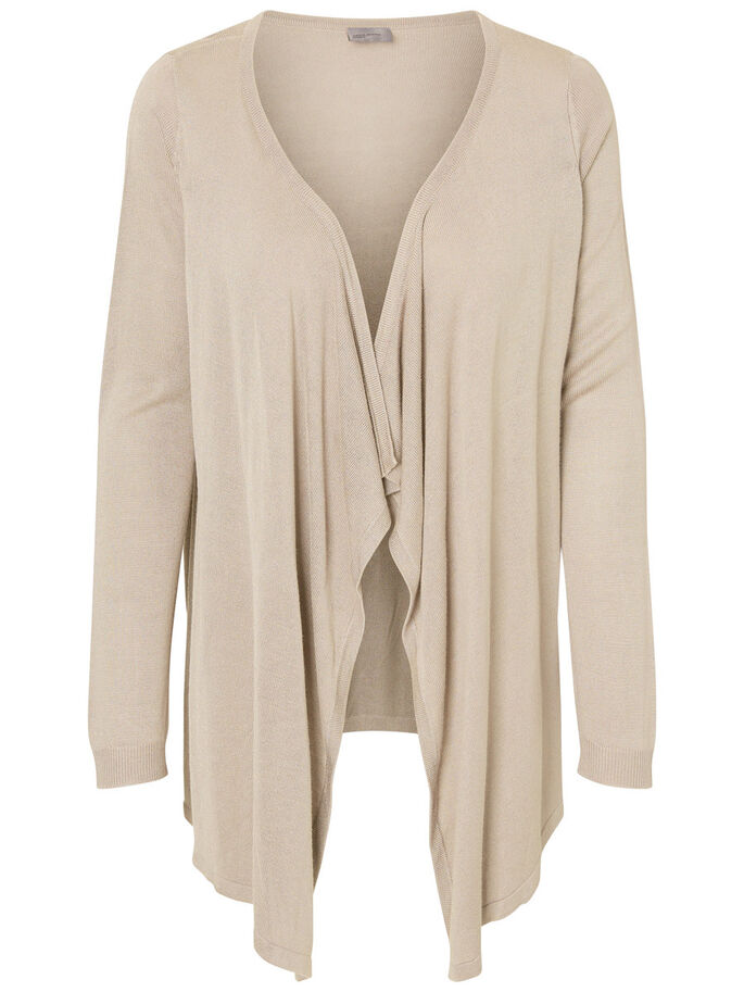 LONG SLEEVED CARDIGAN, Oatmeal, large