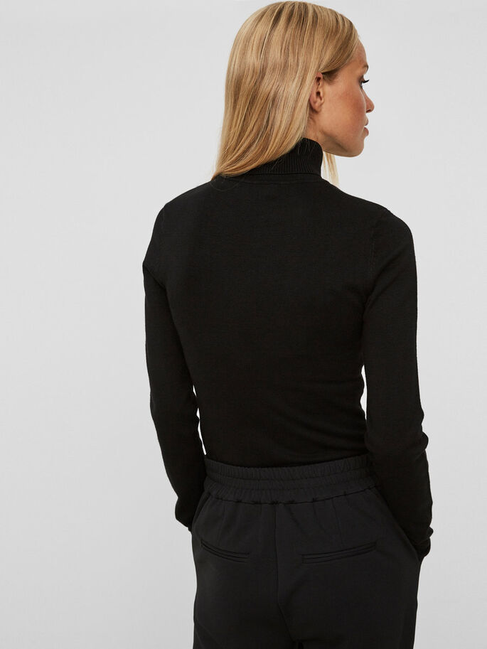 LONG SLEEVED ROLLNECK, Black, large