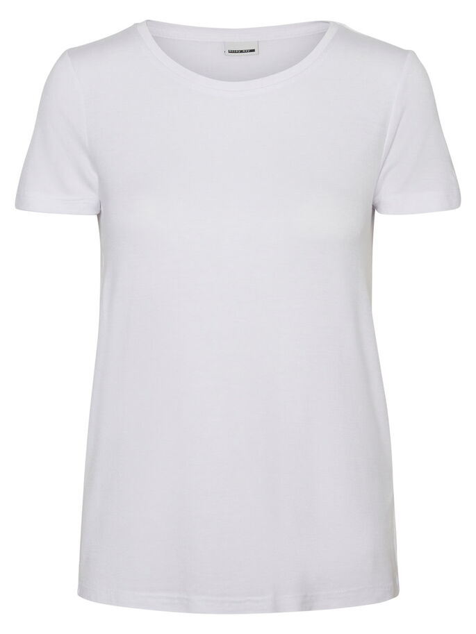 CASUAL SHORT SLEEVED TOP, Bright White, large