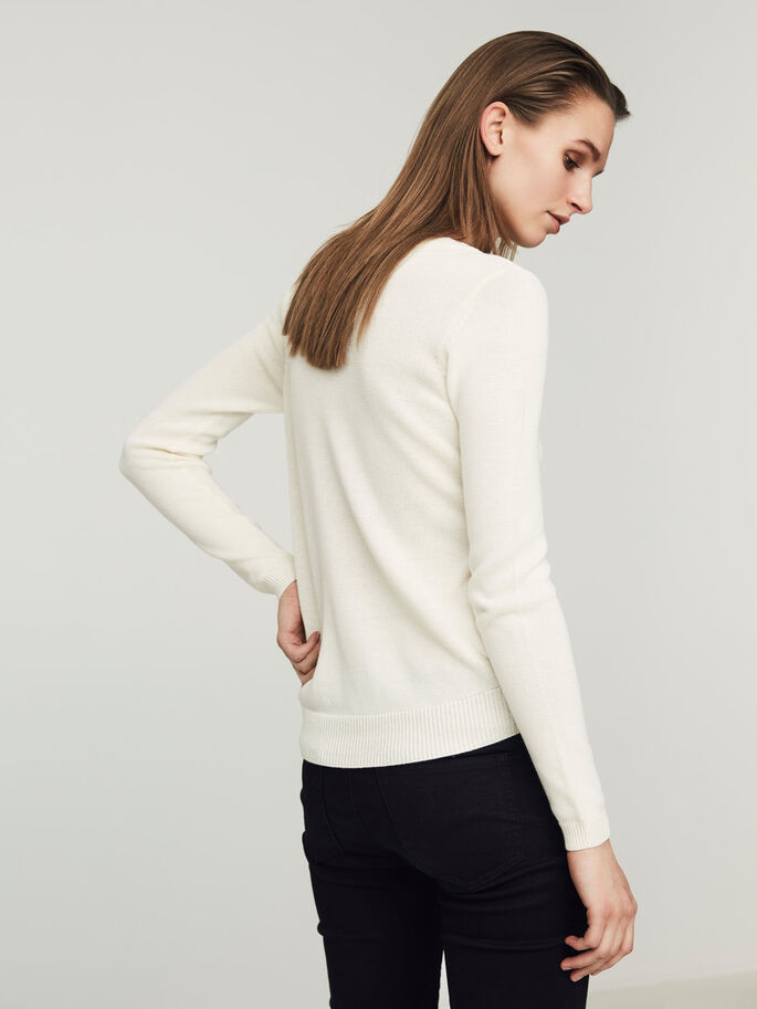 CASUAL KNITTED PULLOVER, Snow White, large