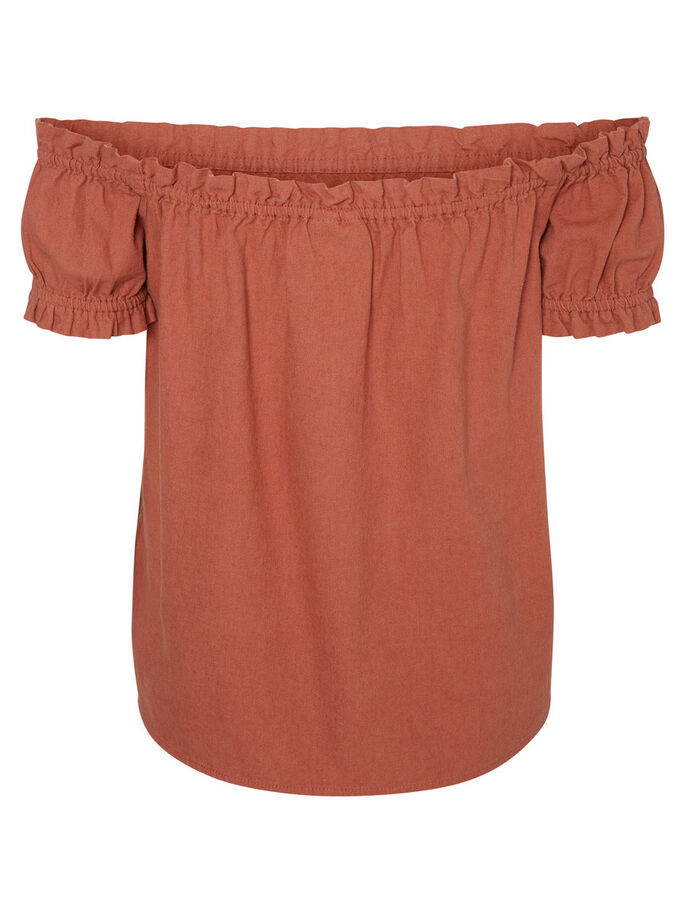 LINEN OFF-SHOULDER SHORT SLEEVED TOP, Cedar Wood, large