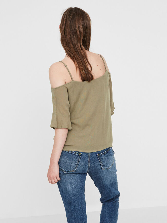 COLD SHOULDER 3/4 SLEEVED BLOUSE, Mermaid, large