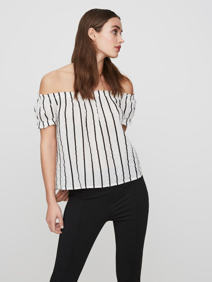 OFF-SHOULDER TOP MED KORTE ÆRMER, Snow White, large