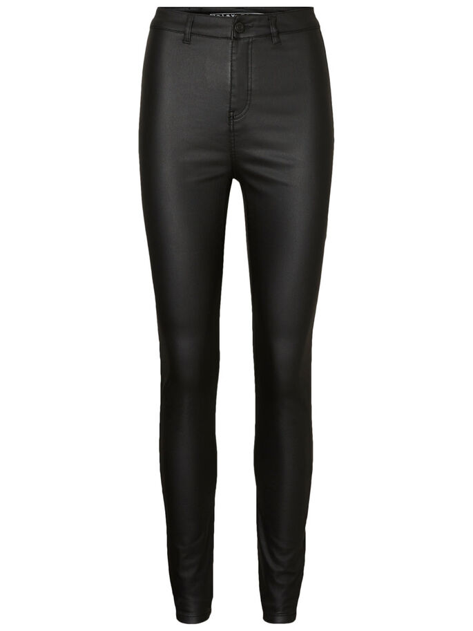 ELLA HW DELUXE COATED TROUSERS, Black, large