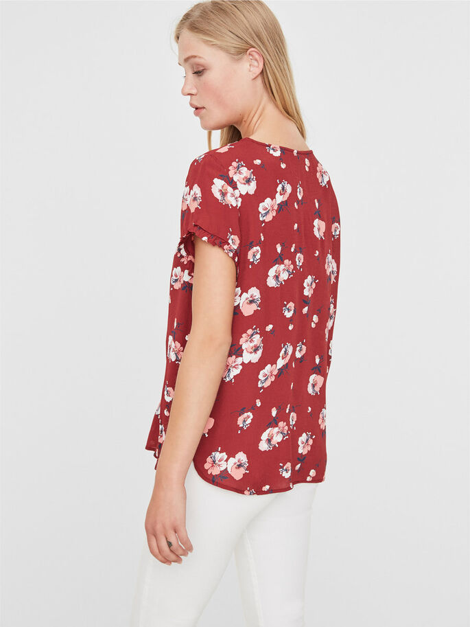 FLOWER SHORT SLEEVED TOP, Deep Claret, large