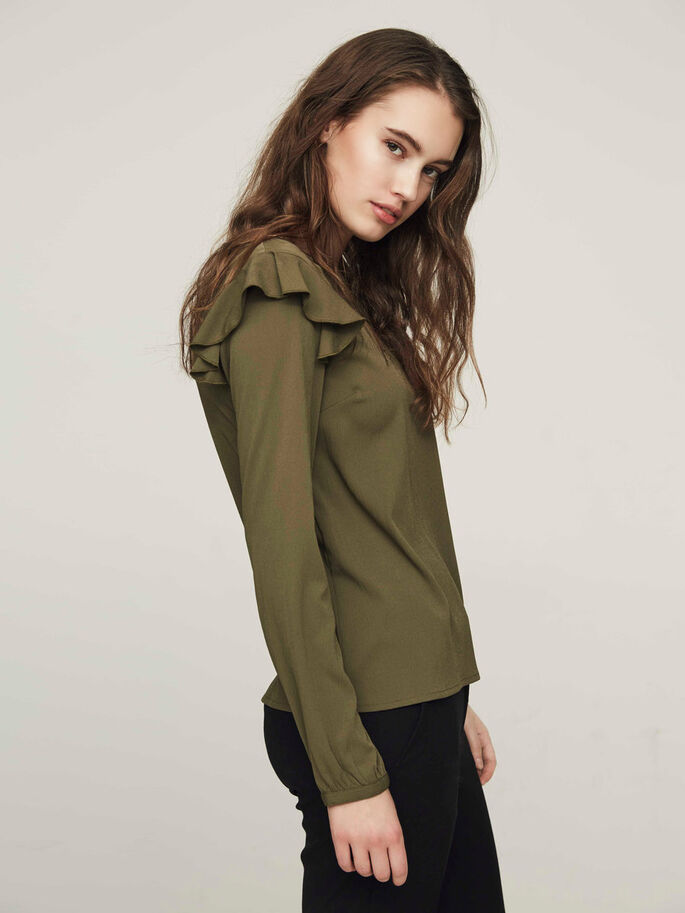 FEMININE LONG SLEEVED BLOUSE, Ivy Green, large