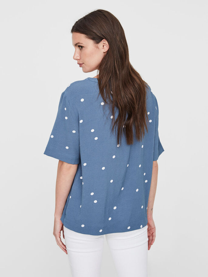 DOTTED SHORT SLEEVED TOP, Bluestone, large