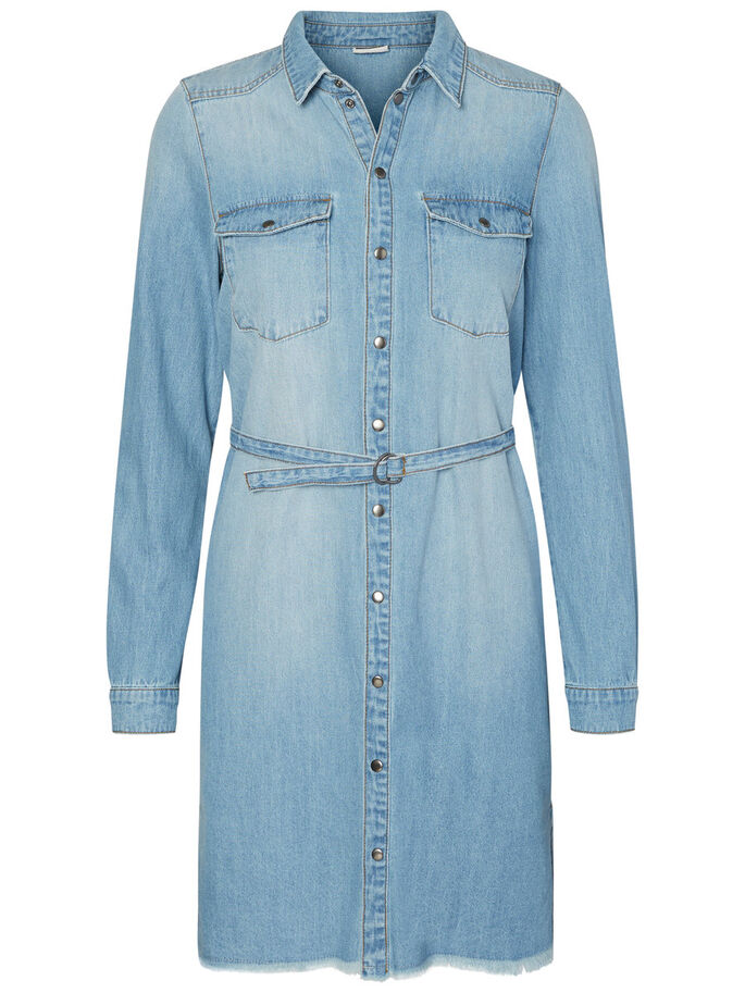 CASUAL DENIM DRESS, Light Blue Denim, large