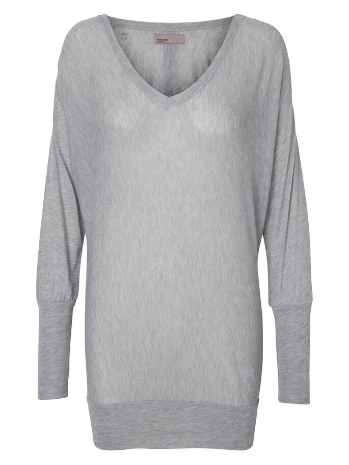 DETAILED LONG SLEEVED TOP, Light Grey Melange, large