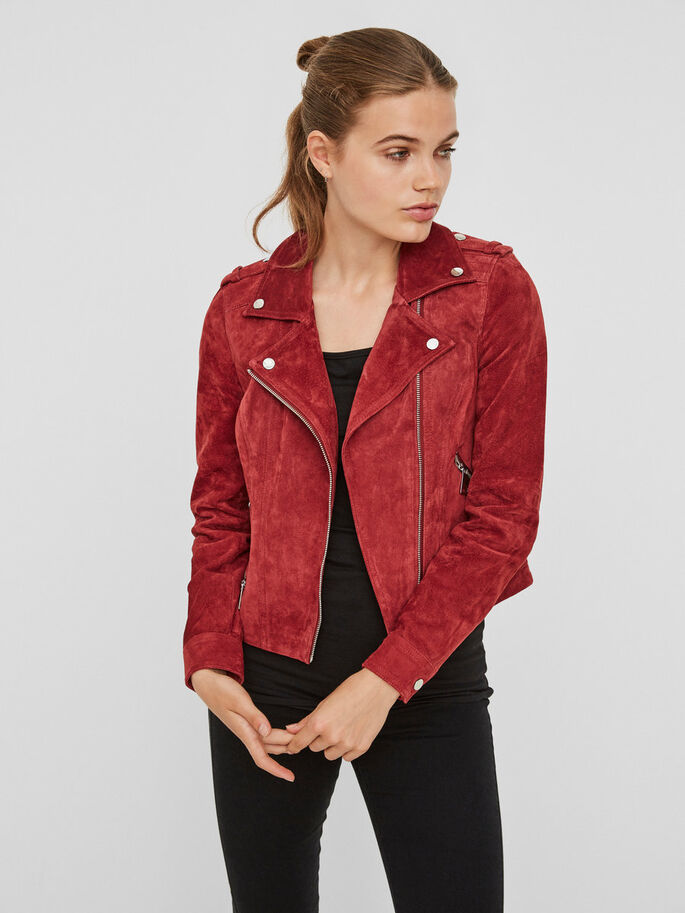 SUEDE JACKET, Sun-Dried Tomato, large