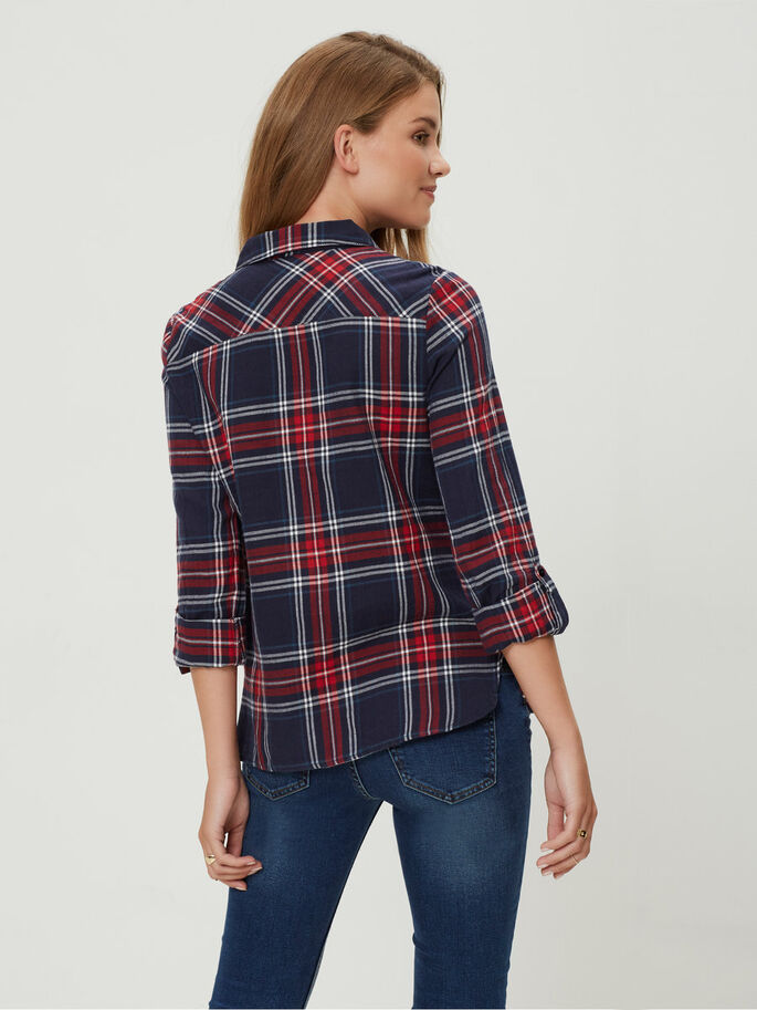 CHEQUERED LONG SLEEVED SHIRT, Black Iris, large