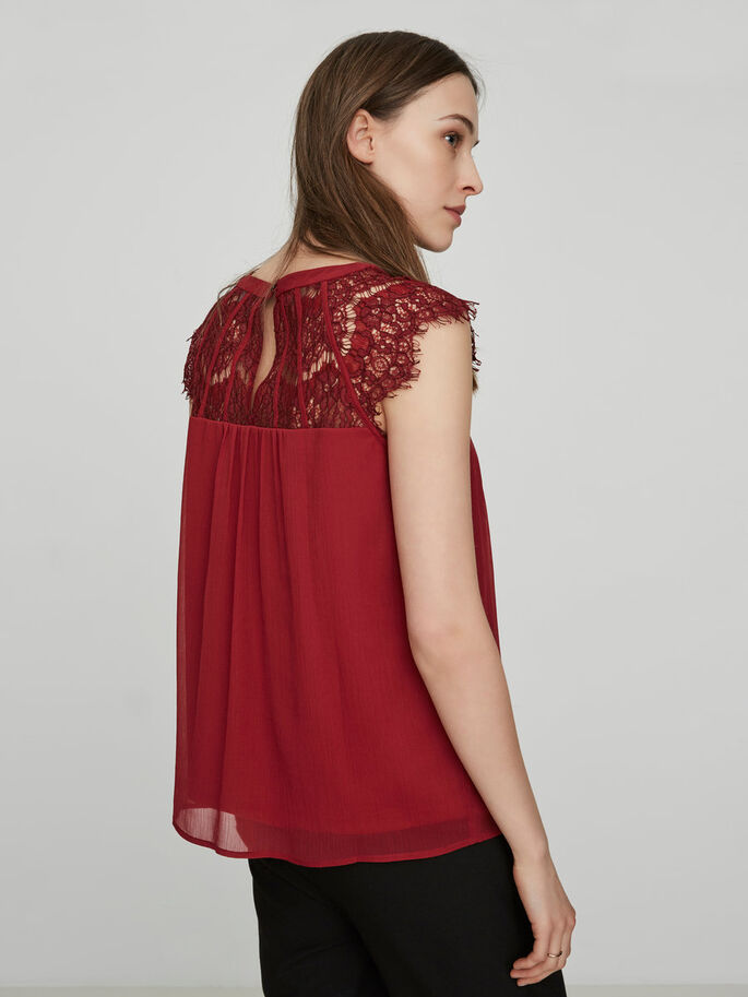 KANTEN TOP MET KORTE MOUWEN, Tibetan Red, large